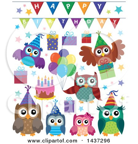 Clipart of Party Owls - Royalty Free Vector Illustration by visekart