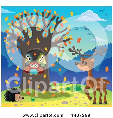 Clipart of a Fall Tree with a Family of Owls, Hedgehog and Deer - Royalty Free Vector Illustration by visekart