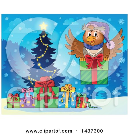 Clipart of a Christmas Owl Flying with a Present over a Tree and Gifts - Royalty Free Vector Illustration by visekart