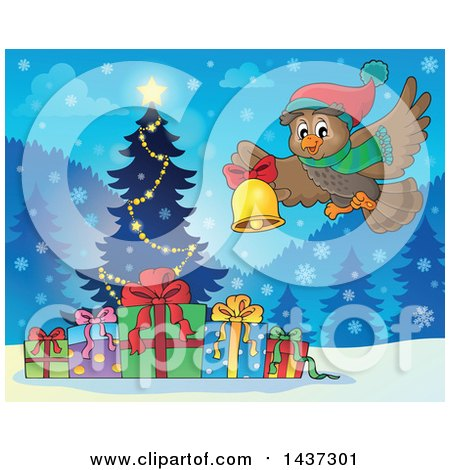 Clipart of a Christmas Owl Flying with a Bell over a Tree and Gifts - Royalty Free Vector Illustration by visekart