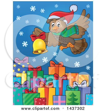 Clipart of a Christmas Owl Flying with a Bell over Gifts - Royalty Free Vector Illustration by visekart