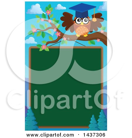 Clipart of a Professor Owl on a Branch over a Chalk Board - Royalty Free Vector Illustration by visekart
