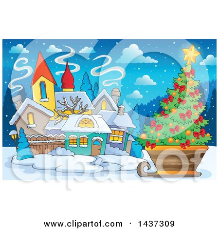 Clipart of a Christmas Village with a Tree in a Sleigh - Royalty Free Vector Illustration by visekart