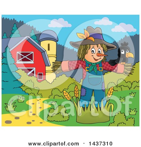 Clipart of a Crow Bird on a Scarecrow in a Barnyard - Royalty Free Vector Illustration by visekart