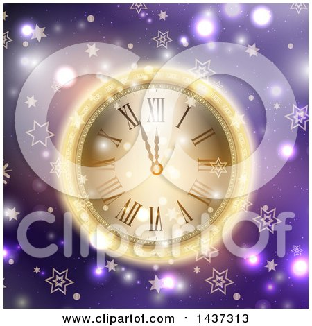 Clipart of a New Year Count down to Midnight Clock Glowing over Purple, with Flares and Stars - Royalty Free Vector Illustration by KJ Pargeter