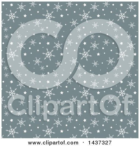 Clipart of a Gray and White Christmas Background with Winter Snowflakes and Stars - Royalty Free Vector Illustration by KJ Pargeter