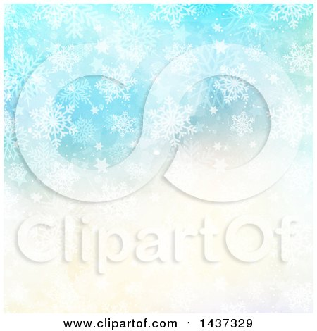 Clipart of a Watercolor Christmas Background with Winter Snowflakes and Stars - Royalty Free Vector Illustration by KJ Pargeter