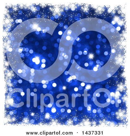 Clipart of a Grungy White Snowflake Christmas Border over Blue Glitter - Royalty Free Illustration by KJ Pargeter