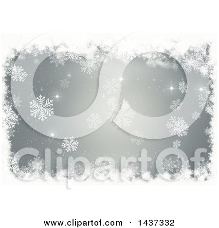 Clipart of a Grungy White Snowflake Christmas Border over Gray - Royalty Free Illustration by KJ Pargeter