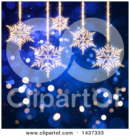 Clipart of a Blue Christmas Flare Background with Suspended Sparkle Snowflakes - Royalty Free Illustration by KJ Pargeter