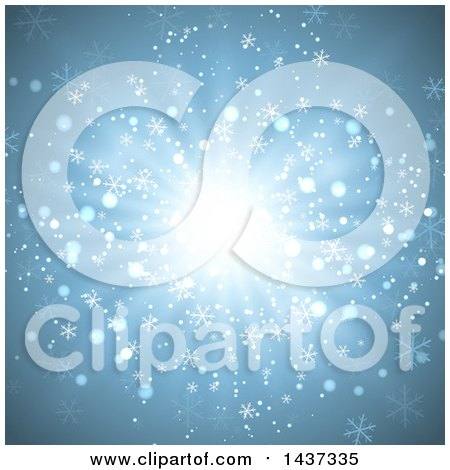 Clipart of a Christmas Burst Background with Snowflakes and Flares - Royalty Free Vector Illustration by KJ Pargeter