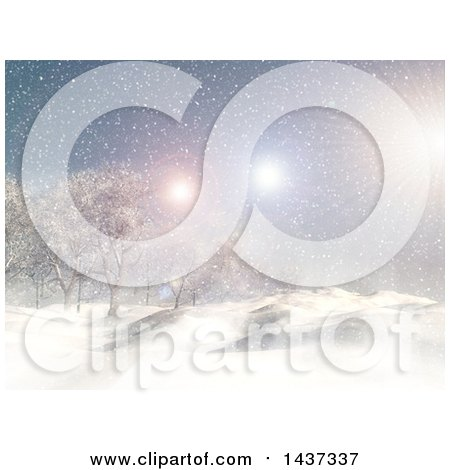 Clipart of a 3d Winter Landscape of Snow Covered Hills, Trees and and Fun Flares - Royalty Free Illustration by KJ Pargeter