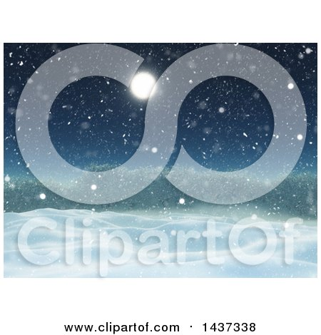 Clipart of a 3d Winter Landscape of Snow Covered Hills, Shrubs or Trees and a Full Moon - Royalty Free Illustration by KJ Pargeter