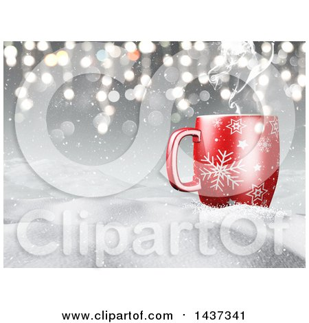 Clipart of a 3d Hilly Winter Snow Landscape with a Steamy Hot Cup of Coffee over Gray and Flares - Royalty Free Illustration by KJ Pargeter