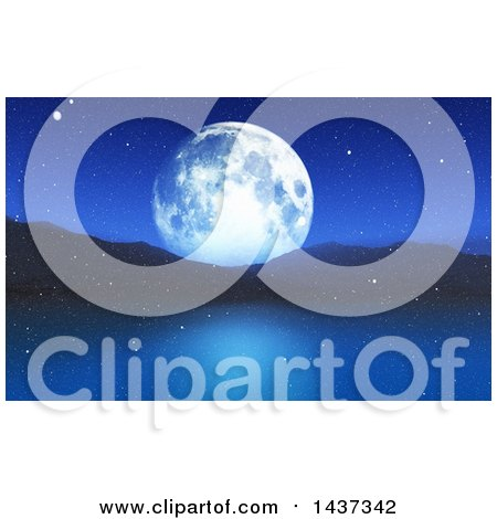 Clipart of a 3d Winter Night Landscape of a Full Moon, Mountains and Still Lake with Snow - Royalty Free Illustration by KJ Pargeter