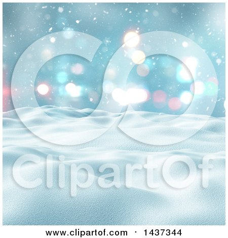Clipart of a 3d Winter Landscape of Snow Covered Hills and Blue Sky - Royalty Free Illustration by KJ Pargeter