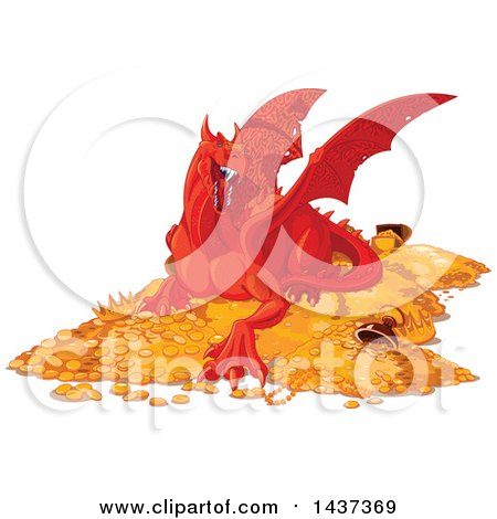 Clipart of a Red Dragon Guarding a Hoard of Gold and Treasure - Royalty Free Vector Illustration by Pushkin