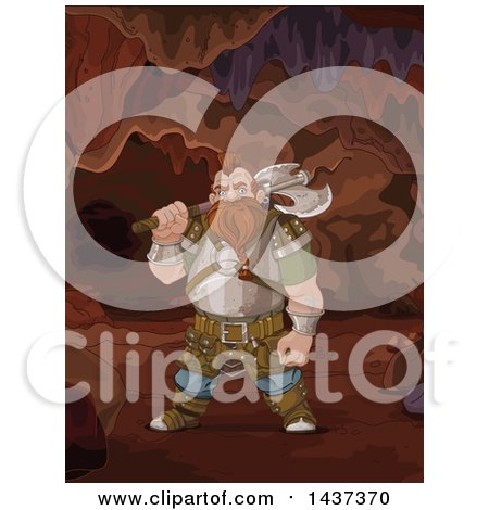 Clipart of a Tough Gnome Holding an Axe in a Cave - Royalty Free Vector Illustration by Pushkin