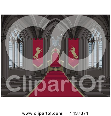 Clipart of a Medieval Castle Interior of a Red Carpet and Kings Throne - Royalty Free Vector Illustration by Pushkin