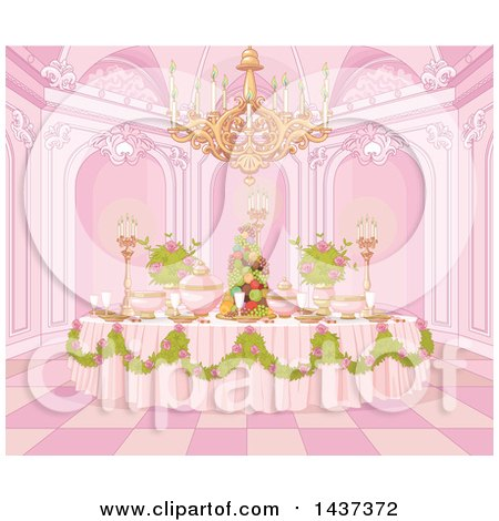 Clipart of a Palace Interior of a Pink Princess Dining Table Formally Set with Flowers and Fruit - Royalty Free Vector Illustration by Pushkin