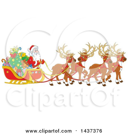 Clipart Of A Cartoon Team Of Magic Christmas Reindeer Ulling Santa In A Sleigh Royalty Free Vector Illustration