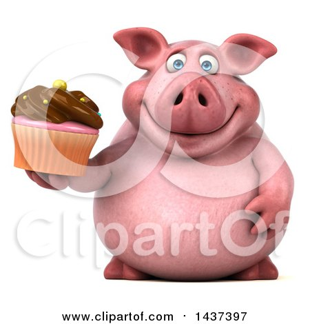 Clipart of a 3d Chubby Pig Holding a Cupcake, on a White Background - Royalty Free Illustration by Julos