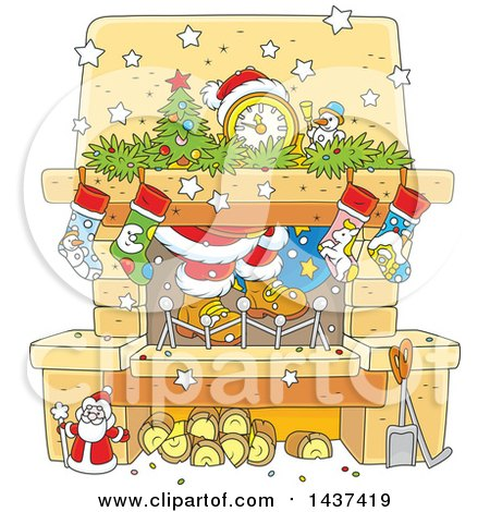 Clipart of a Cartoon Decorated Christmas Hearth Fireplace with Santas Feet - Royalty Free Vector Illustration by Alex Bannykh
