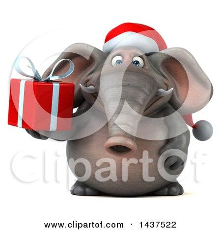 Clipart of a 3d Christmas Elephant Character Holding a Gift, on a White Background - Royalty Free Illustration by Julos