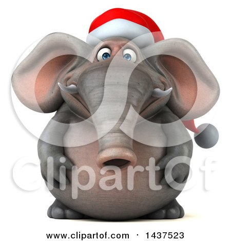 Clipart of a 3d Christmas Elephant Character, on a White Background - Royalty Free Illustration by Julos