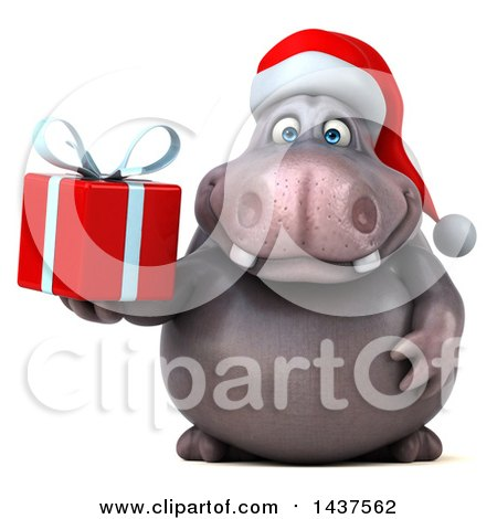 Clipart of a 3d Christmas Henry Hippo Character Holding a Present, on a White Background - Royalty Free Illustration by Julos
