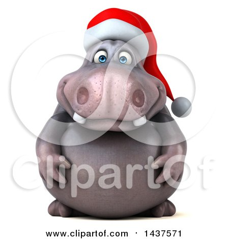 Clipart of a 3d Christmas Henry Hippo Character, on a White Background - Royalty Free Illustration by Julos