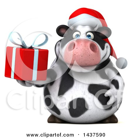 Clipart of a 3d Holstein Christmas Cow Character Holding a Gift, on a White Background - Royalty Free Illustration by Julos