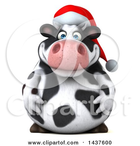Clipart Of A 3d Holstein Christmas Cow Character On A