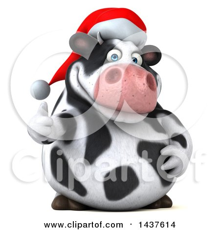 Clipart of a 3d Holstein Christmas Cow Character Giving a Thumb Up, on a White Background - Royalty Free Illustration by Julos