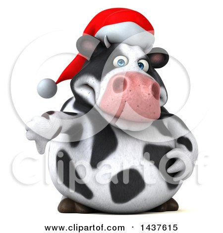 Clipart of a 3d Holstein Christmas Cow Character Giving a Thumb Down, on a White Background - Royalty Free Illustration by Julos