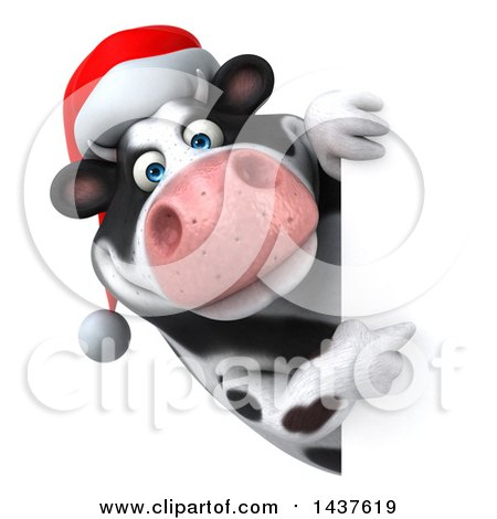 Clipart of a 3d Holstein Christmas Cow Character, on a White Background - Royalty Free Illustration by Julos