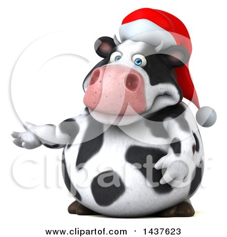 Clipart of a 3d Holstein Christmas Cow Character Presenting, on a White Background - Royalty Free Illustration by Julos