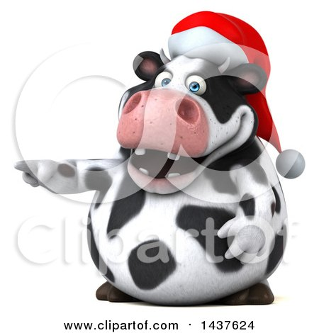 Clipart of a 3d Holstein Christmas Cow Character Pointing, on a White Background - Royalty Free Illustration by Julos