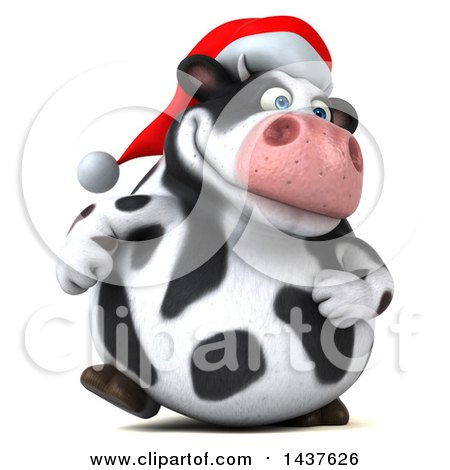 Clipart of a 3d Holstein Christmas Cow Character Walking, on a White Background - Royalty Free Illustration by Julos