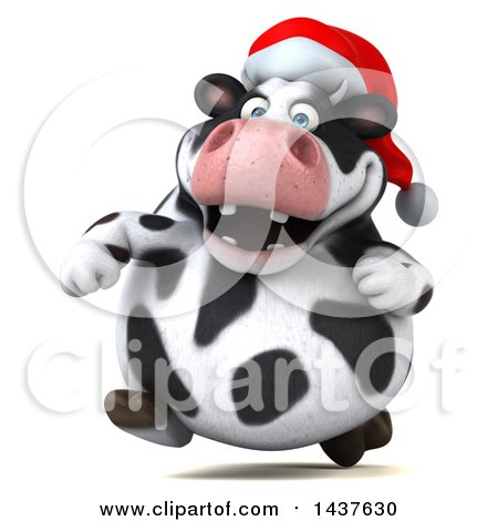 Clipart of a 3d Holstein Christmas Cow Character Running, on a White Background - Royalty Free Illustration by Julos