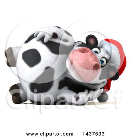 Clipart of a 3d Holstein Christmas Cow Character Resting on His Side, on a White Background - Royalty Free Illustration by Julos