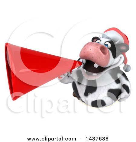 Clipart of a 3d Holstein Christmas Cow Character Using a Megaphone, on a White Background - Royalty Free Illustration by Julos