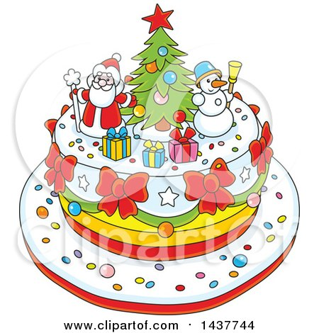 Clipart of a Cartoon Festive Christmas Cake with Tree, Snowman and Santa Toppers - Royalty Free Vector Illustration by Alex Bannykh