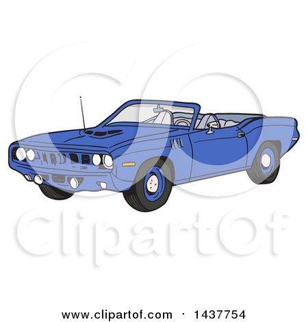 Clipart of a Blue 1971 Hemi Plymouth Barracuda Convertible Muscle Car - Royalty Free Vector Illustration by LaffToon