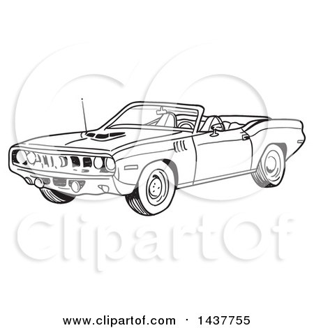 Clipart of a Black and White Lineart 1971 Hemi Plymouth Barracuda Convertible Muscle Car - Royalty Free Vector Illustration by LaffToon
