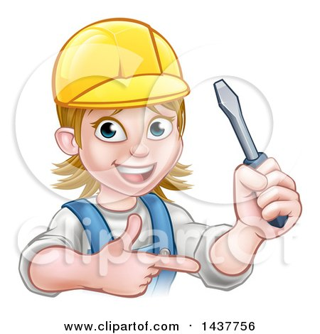 Clipart of a Cartoon Happy White Female Electrician Wearing a Hardhat, Holding up a Screwdriver and Pointing - Royalty Free Vector Illustration by AtStockIllustration