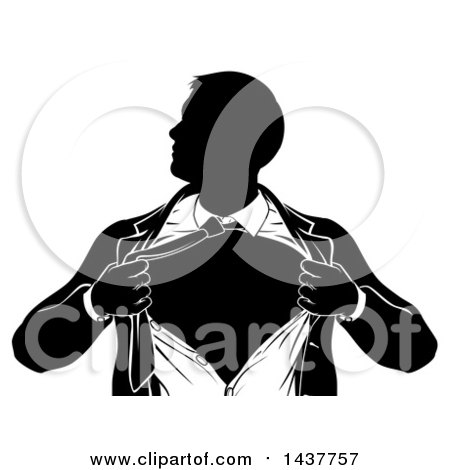 Clipart of a Black and White Silhouetted Strong Business Man Super Hero Ripping off His Suit - Royalty Free Vector Illustration by AtStockIllustration