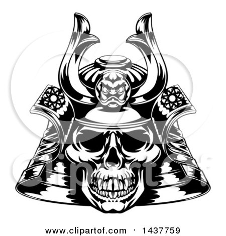 Clipart of a Black and White Skull Asian Samurai Mask - Royalty Free Vector Illustration by AtStockIllustration