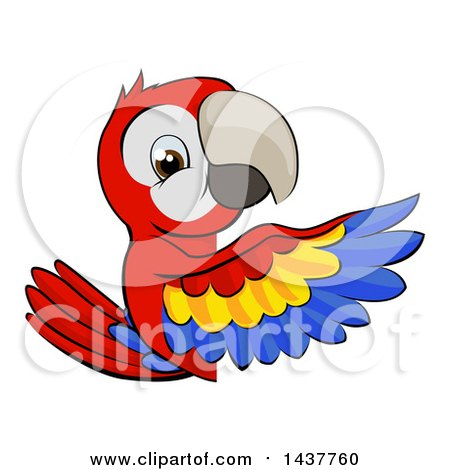 Clipart of a Cartoon Happy Scarlet Macaw Parrot Pointing Around a Sign - Royalty Free Vector Illustration by AtStockIllustration