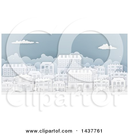 Clipart of a Row of Paper Cut Styled Georgian or Victorian Houses in a Neighborhood, on Blue - Royalty Free Vector Illustration by AtStockIllustration